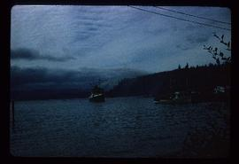 The 'Cafale' approaching shore of Alert Bay, BC