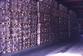Pallets of asbestos in warehouse