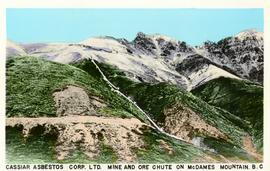 Postcard of Cassiar Asbestos Corporation's mine and ore chute on McDame Mountain