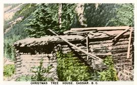 Postcard of Cassiar's christmas tree house