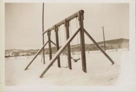 Giscome School swings in winter