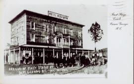 Arrival of the First Stage Coach at the Hotel Northern, South Fort George, BC. 19 October 1911.
