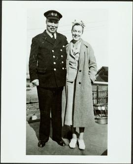 Officer and woman aboard the S.S. Tutshi
