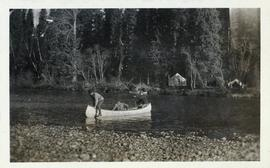 Man beaching a canoe