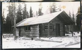 Log house with porch