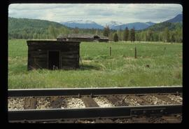 Goat River - Rail Road Tracks and Log Building