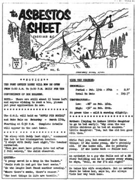 The Asbestos Sheet Feb. 1962