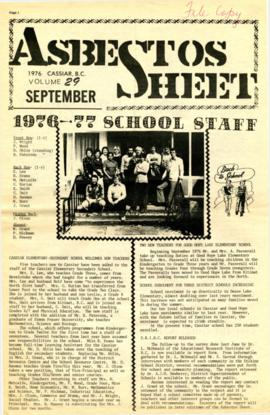The Asbestos Sheet Sept. 1976