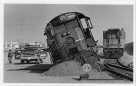 British Columbia Railroad Engine Number 586 derailed