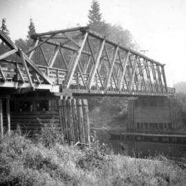 Wooden bridge over Salmon River on North Vancouver Island