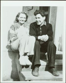 Ray and Gladys Williston sitting on steps