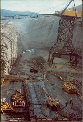 Construction of the spillway for the W.A.C. Bennett Dam