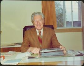 Ray Williston in the offices at BC Cellulose