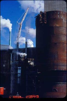 Original Construction - Crane erecting new blow tank at B-mill