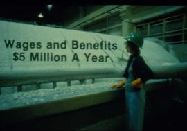 "Original Construction - Graphic presentation slide: ""wages and benefits $5 million a year"""