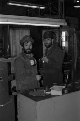 Workplace Album - Wally Cameron with Unknown Man in Shop