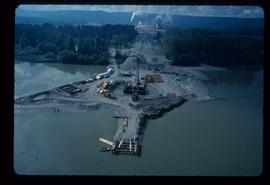 Woods Division - Fraser River Bridge Project - Aerial perspective of bridge construction site