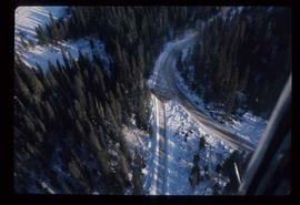 Woods Division - Roads - Aerial of unidentified road in winter
