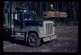 Woods Division - Letourneaus - Carrying load of logs to log deck