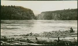 A log jam in the foreground, with men boating on the river in the background