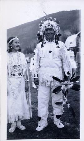 First Nations man and woman in full regalia - Plains (?)