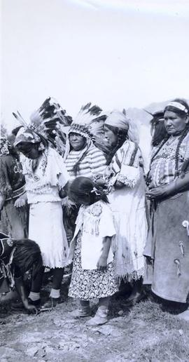 Group of First Nations women in full regalia
