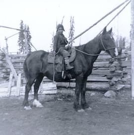 Travel to Anahim Lake, 1952 - First Nations child on horse