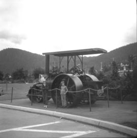 Steam roller on display in front of the Provincial Court House in Prince Rupert