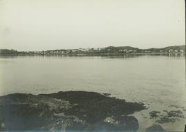 Distant view of Metlakatla village from across the water