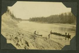 Canoes and survey crew on Parsnip River