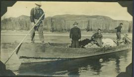 Frank Swannell, Al Phipps and three unidentified crewmen on the Peace River