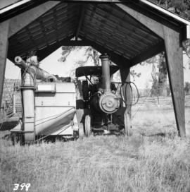 Ranch on Nicola Lake with steam traction engine and thresher