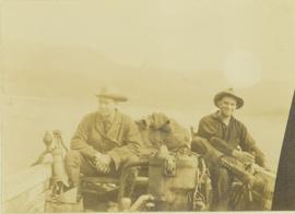 Prentiss Gray (left) and Mac McGarvey (right) in a boat on the Peace River