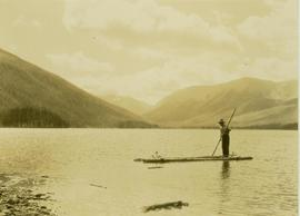 Pete Callao poling a makeshift raft on Muinok Lake