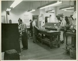 Prince Rupert Daily News - Portion of back shop featuring three typesetting machines