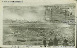 Downtown Fort George after a devasting fire
