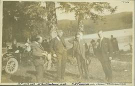 Harry Perry stands with William Sutherland (MLA), T.D. Pattullo (MLA) and Alex Manson (MLA) at a Liberal Party picnic