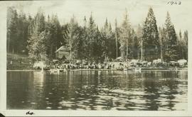 View of Liberal Party picnic taken from across Six Mile Lake