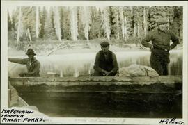 Harry Perry and two men in a boat heading up the Peace River
