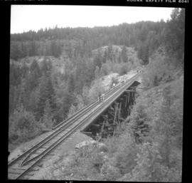 Trestle bridge on CPR Kettle Valley Railway in Myra Canyon