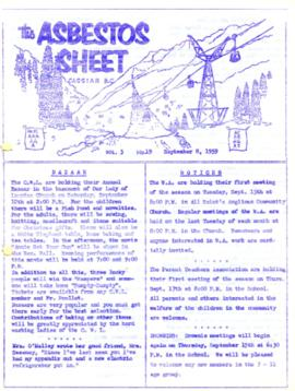 The Asbestos Sheet Sept. 1959