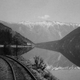 Pacific Great Eastern track along Seton or Anderson Lake