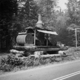 View of steam donkey probably at Sayward