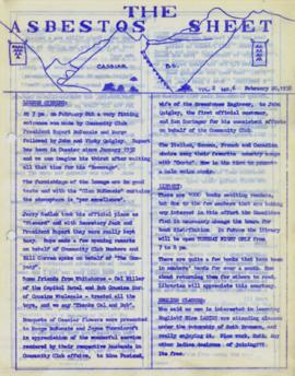 The Asbestos Sheet Feb. 1958