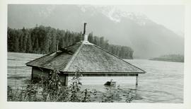 Submerged house at Pacific Station on the Skeena River