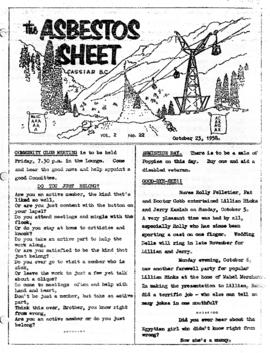The Asbestos Sheet 23 Oct. 1958