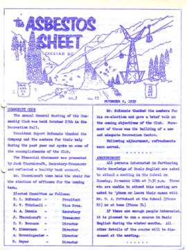 The Asbestos Sheet Nov. 1959