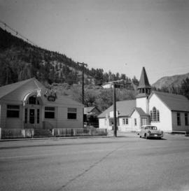 Liquor store and church in Lillooet, B.C.