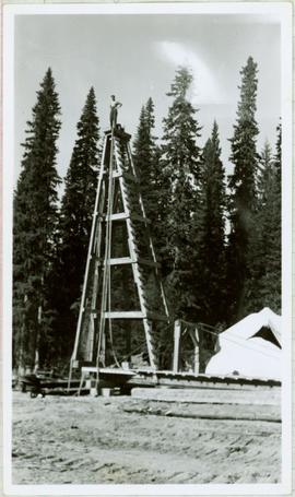 Bert Youngstrom Standing on Pile Driver