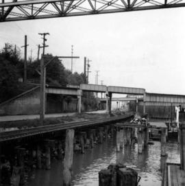 Road and rail bridges at New Westminster, BC